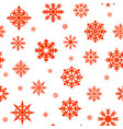 seamless pattern with red snowflakes on a white vector image vector image