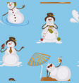 snowman sunbathing on beach lying on sun under vector image