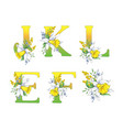 spring bright letters with daffodils and forget-me vector image vector image