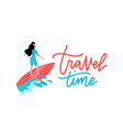 summer time banner with women character surfing vector image vector image