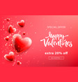 valentines day sale template with heart shaped vector image vector image