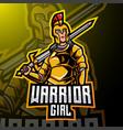 warrior girl esport mascot logo design vector image vector image