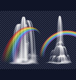waterfalls and rainbows decorative elements vector image
