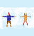 winter snow angel people boy and girl vector image