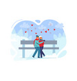 young couple in love in winter clothes christmas vector image vector image