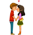 young couple kissing vector image