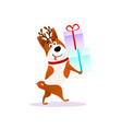 funny cartoon dog with xmas gift happy puppy vector image