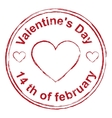 14th February Valentines Day Red stamp imprint vector image