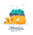a cat on summer holiday sleeping cat dreams vector image vector image
