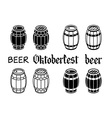 Barrels set beer wood oktoberfest vector image vector image