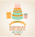 birthday poster with cake and ribbon template vector image vector image