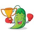 boxing winner peas mascot cartoon style vector image vector image