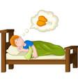 boy cartoon sleeping and dream fried chicken vector image