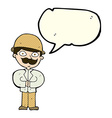 Cartoon man in safari hat with speech bubble vector image