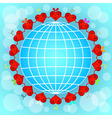 Cartoon red hearts circle around globe vector image