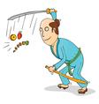 Cartoon samurai chopping fruits vector image vector image