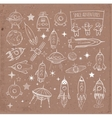 Collection of sketchy space objects vector image vector image