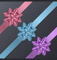 colorful realistic bows gift element for card vector image vector image