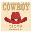 cowboy party card with western hat vector image vector image