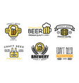 Craft beer logo set vintage brewery premium