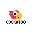 cute cockatoo flat logo icon vector image vector image