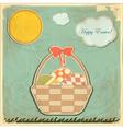 easter card in vintage style - basket easter eg vector image vector image