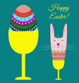 easter poster with egg and bunny vector image vector image