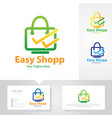 easy shop logo design vector image