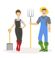 family of farmers man in green rubber boots a vector image vector image