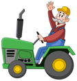 farmer driving tractor vector image