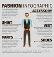 fashion infographic with hipster style man vector image