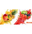 fruit burst splash of juice sweet tropical fruits vector image vector image