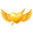 golden heart with wings pierced cupid arrow vector image