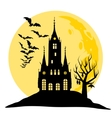 halloween view castle moon bats and hill vector image