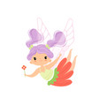 lovely little winged fairy with lilac hair flying vector image vector image