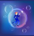 man with smartphone in bubble metaphor vector image vector image