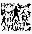 martial art and kungfu silhouette vector image vector image