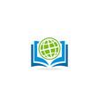 open book world globe knowledge logo vector image