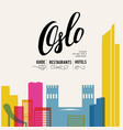 oslo norway skyline with panorama in white vector image vector image