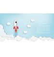 paper art rocket flying over cloud beautiful vector image