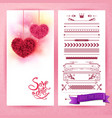 pink save date hearts and icons vector image vector image