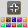 Plus icon sign Set with eleven colored buttons for vector image vector image