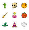 pumpkin head icons set cartoon style vector image
