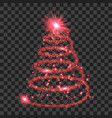 red particle wave in form of christmas tree vector image