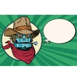 Robot cowboy West wild world vector image vector image