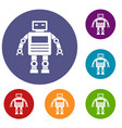 robot icons set vector image vector image