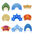 russian kokoshnik traditional hat with ornament vector image vector image