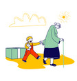 senior woman with walking cane going with little vector image