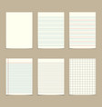 set of vintage line paper sheets vector image vector image