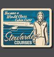 stewardess training courses flight attendant vector image vector image